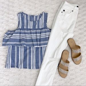 Cold-Shoulder Tank Top - summery blue & white!